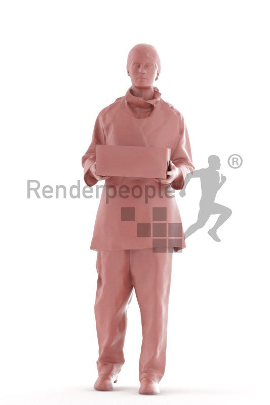 3d people healthcare, 3d white woman standing and holding