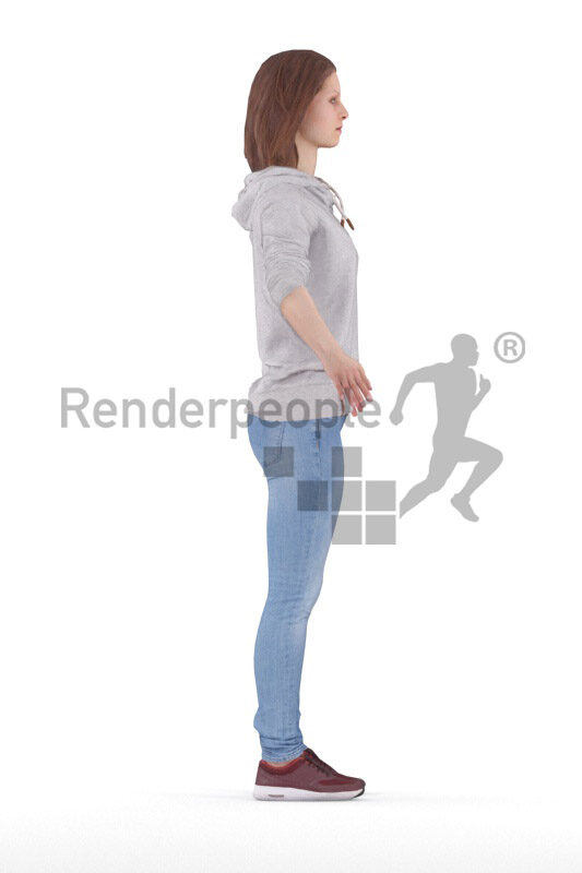 Rigged and retopologized 3D People model – european female, dressed in casual hoody