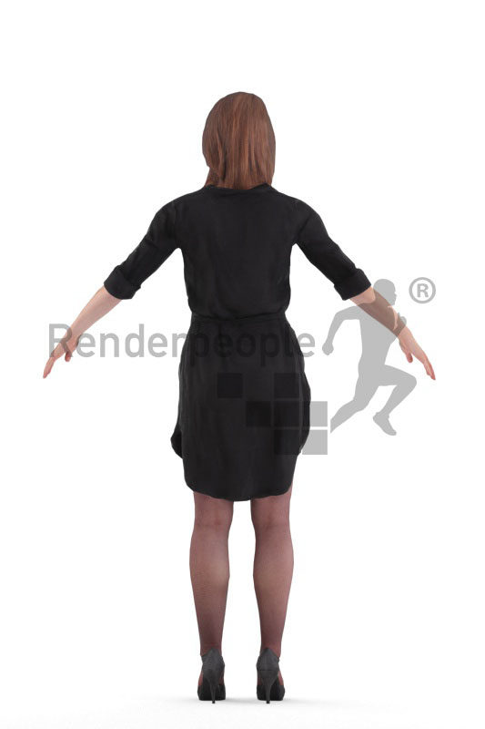 Rigged and retopologized 3D People model – white woman in event look