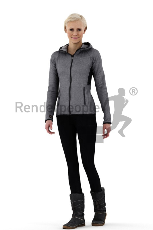 3d people casual, white friendly looking 3d woman wearing boots