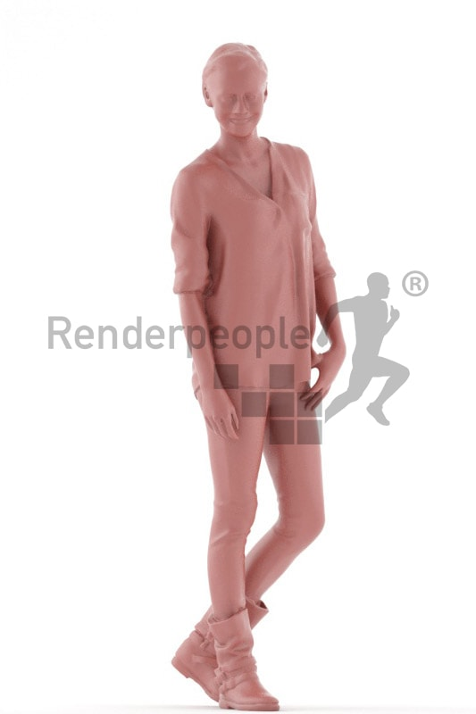 3d people casual, white friendly looking 3d woman standing and smiling