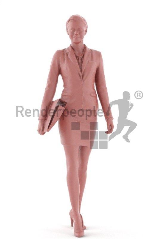 3d people business, white friendly looking 3d woman carrying a folder