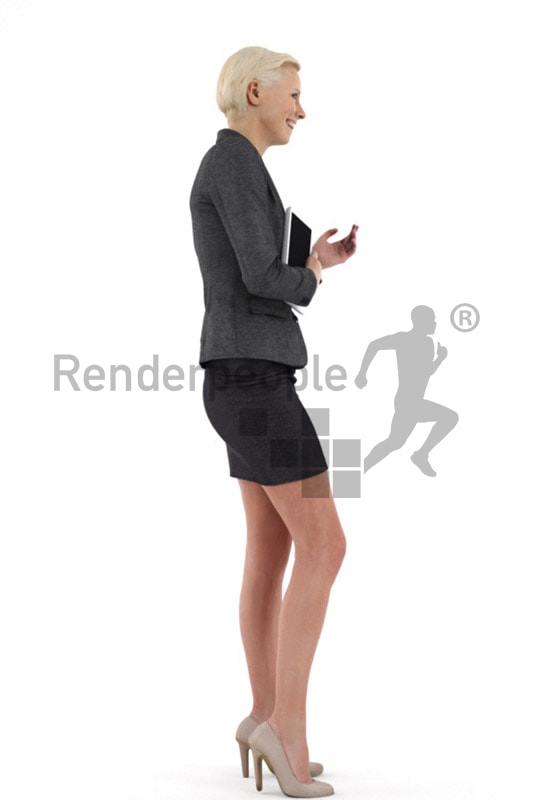 3d people business, white friendly looking 3d woman holding a tablet and talking