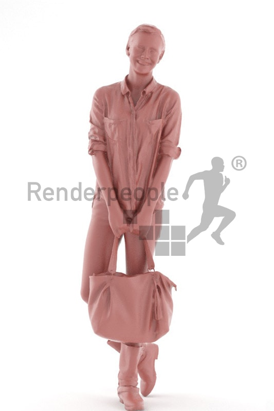 3d people shopping, white 3d woman with short hair carrying a purse