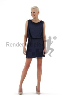 3d people event, white friendly looking 3d woman in a stylish blue dress