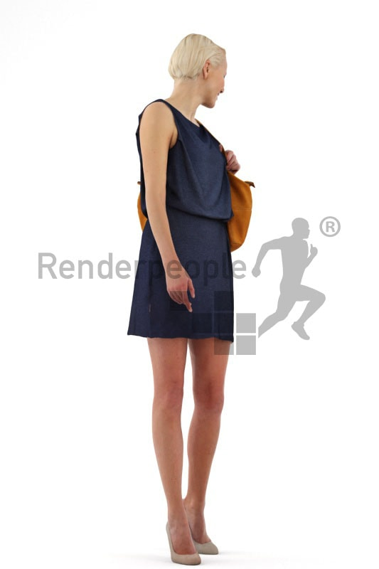 3d people shopping, white 3d woman carrying a purse and looking over her shoulder