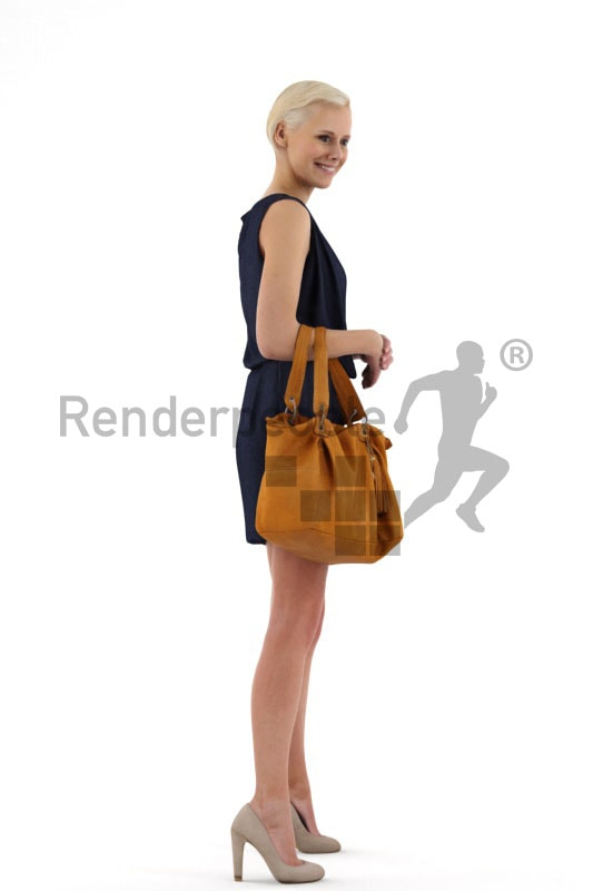 3d people shopping, white 3d woman with blond short hair carrying a purse