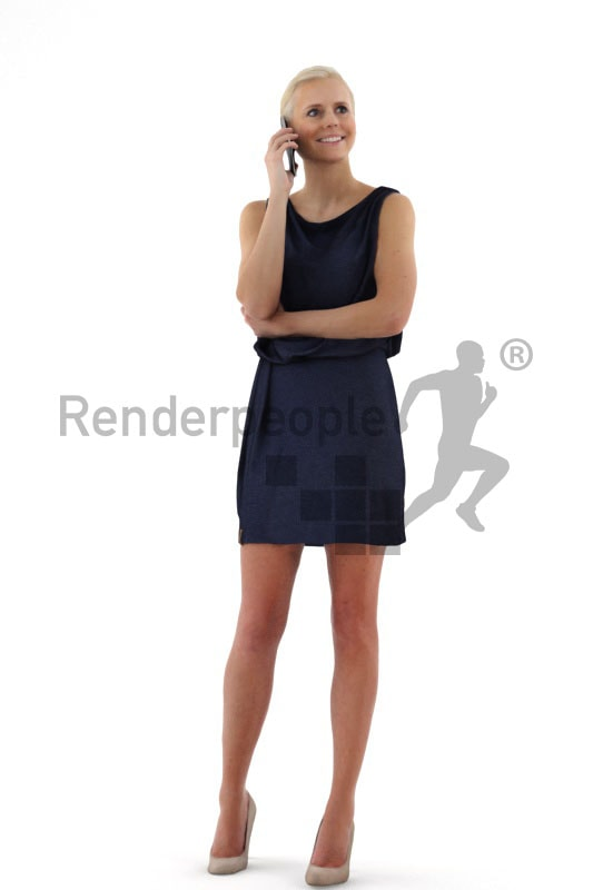 3d people event, white friendly looking 3d woman in a stylish blue dress talking on the phone