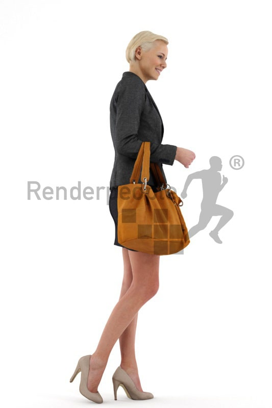 3d people shopping, white 3d woman with short blond hair carrying a purse