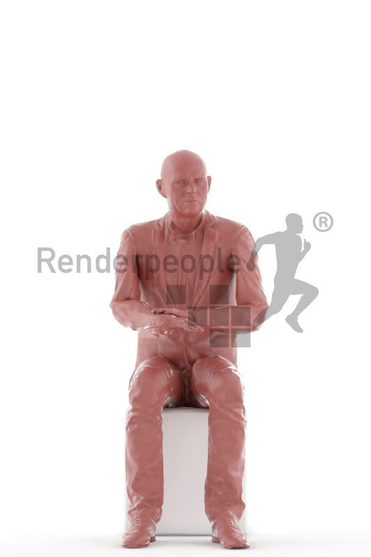 Animated human 3D model by Renderpeople – elderly white man in business suit, sitting