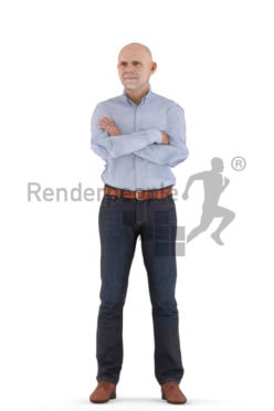 Animated human 3D model by Renderpeople – elderly european man standing in business look
