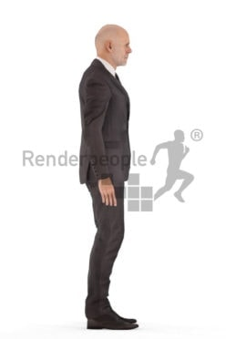 Animated 3D People model for realtime, VR and AR – old european man in business suit, idling
