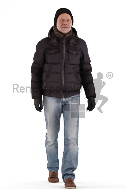 3d people casual outdoor, best ager man walking