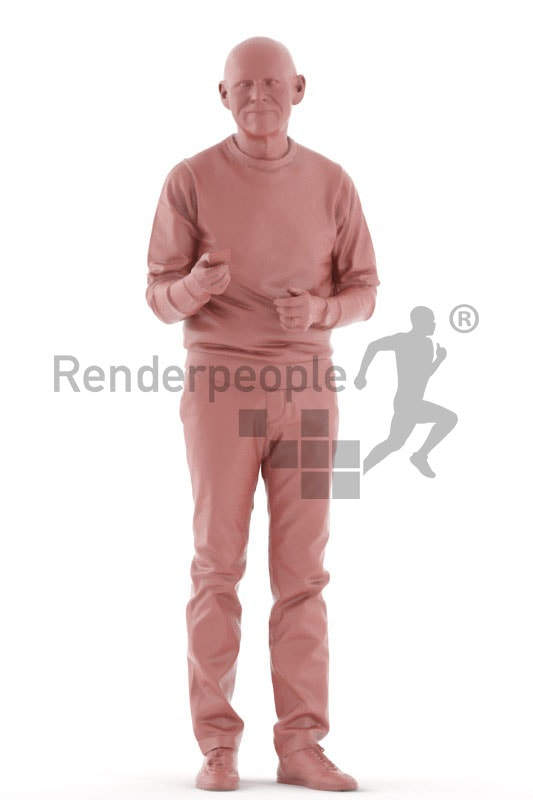3d people casual, best ager man holding credit card