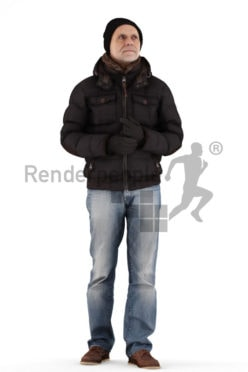 3d people casual outdoor, best ager man standing