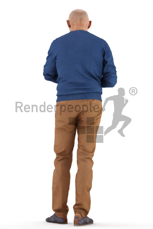 3d people casual, best ager man standing and looking at watch