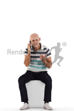 3d people casual, best ager man sitting and calling somebody