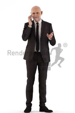 3d people business, best ager man standing and calling someone