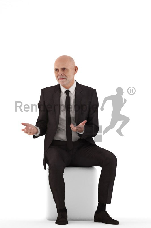 3d people business, best ager man sitting and discussing