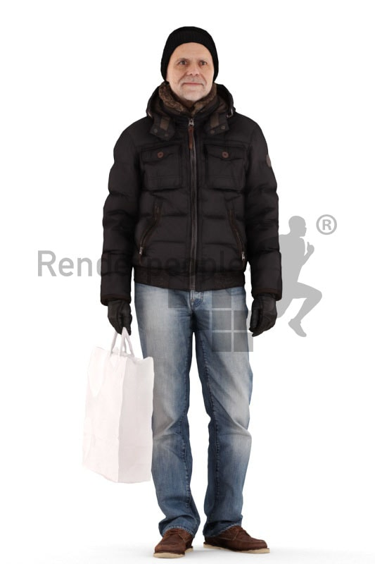 3d people casual outdoor, best ager man standing and holding bag