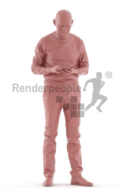 3d people casual, best ager man standing and looking at his phone