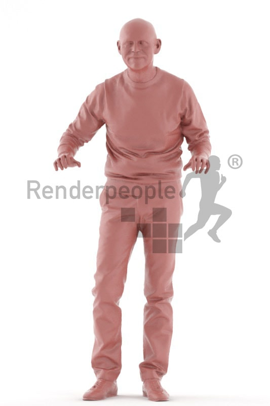 3d people casual, best ager man standing