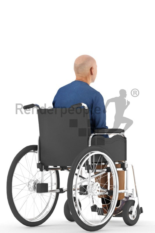 3d people casual, best ager man sitting on wheelchair