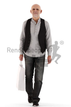 3d people casual, best ager man walking and shopping