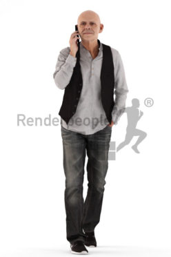 3d people casual, best ager man walking and calling somebody