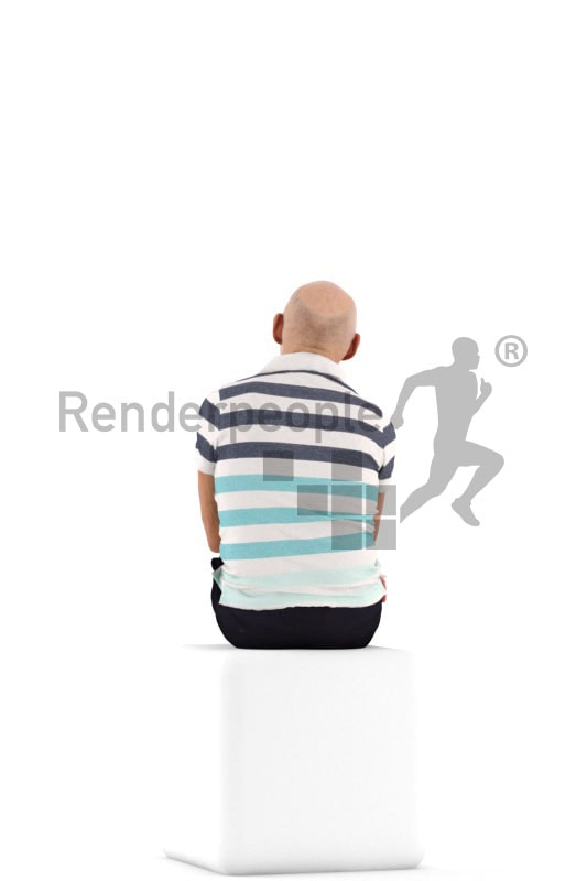 3d people casual, best ager man sitting and holding a cup