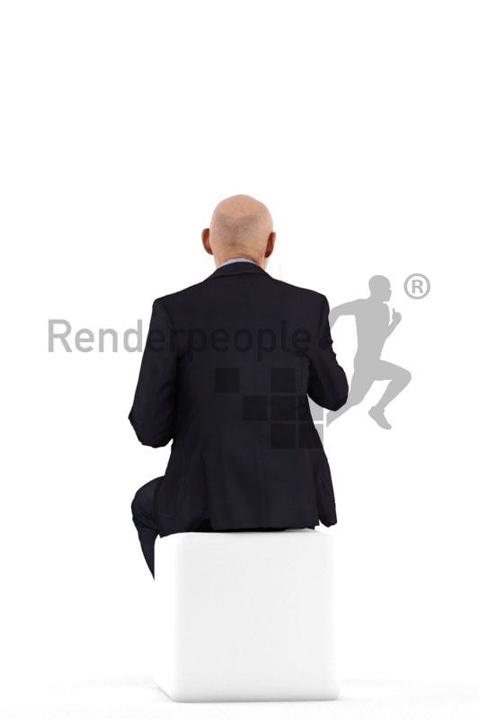 3d people business, best ager man sitting and holding glass
