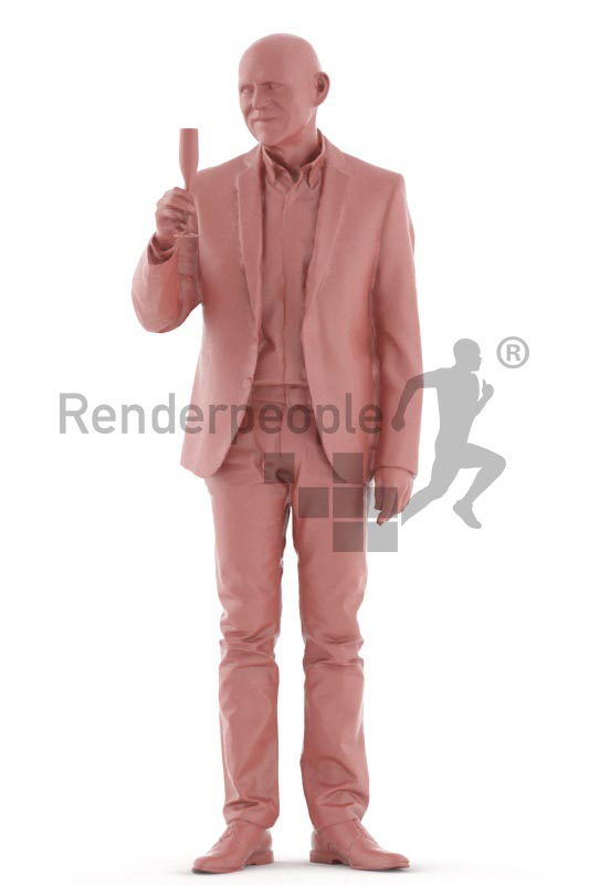 3d people business, best ager man standing and holding glass