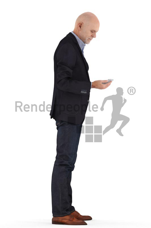 3d people business, best ager man standing and looking on phone
