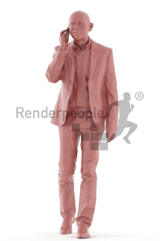 3d people business, best ager man walking and calling someone