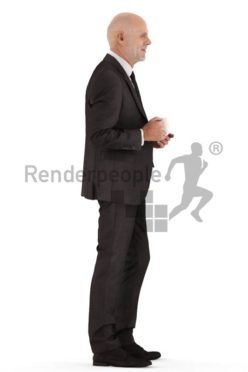 3d people business, best ager man standing and holding cup