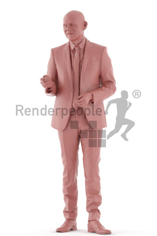 3d people business, best ager man standing and paying with credit card