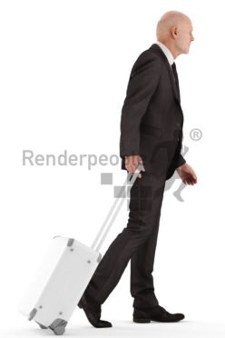 3d people business, best ager man walking and carrying suitcase