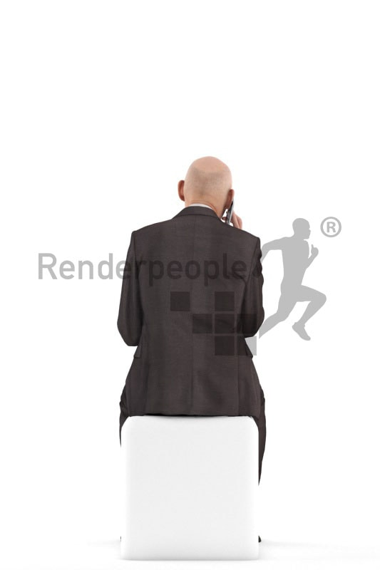 3d people business, best ager man sitting and calling somebody