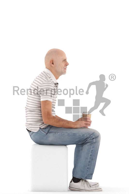 3d people casual, best ager man sitting and holding a cup of coffee