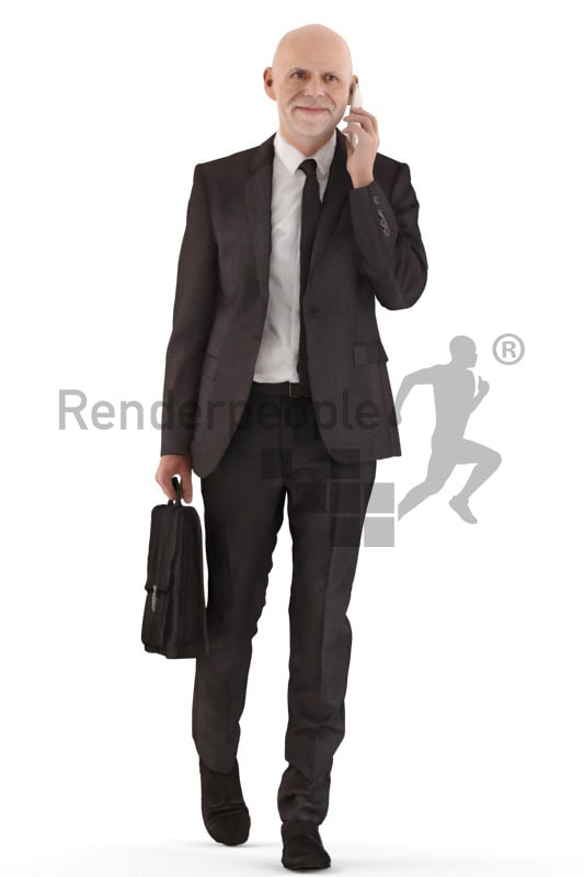 3d people business, best ager man walking,carrying a briefcase while calling someone