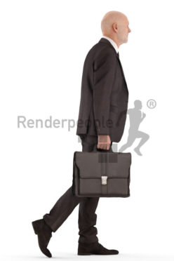 3d people business, best ager man walking and carrying briefcase