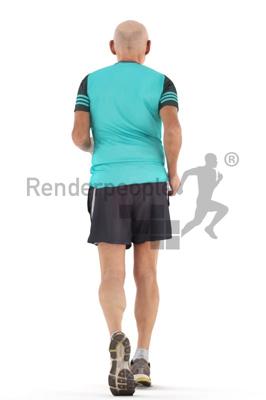 3d people sports , best ager man running