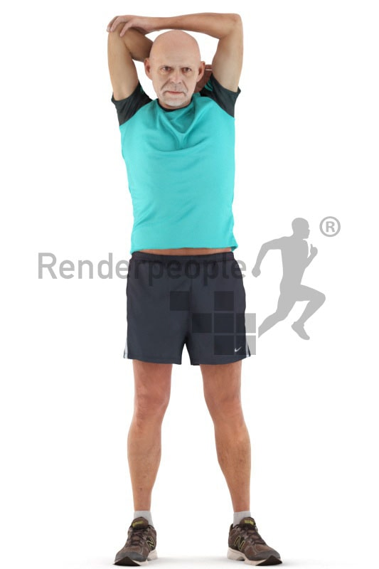 3d people sports , best ager man stretching