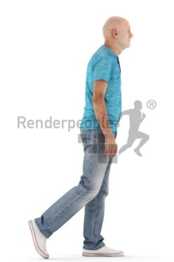 3d people casual, best ager man standing and paying