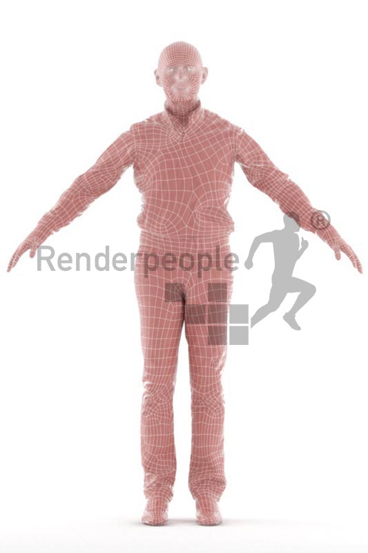 3d people casual, rigged best ager man in A Pose