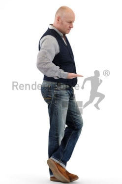 3d people casual, best ager white 3d man with his hand on a rail