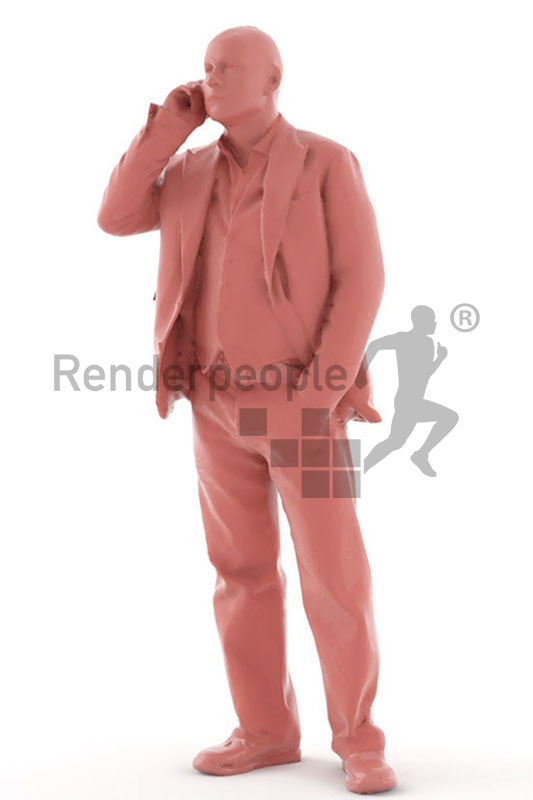 3d people business, best ager white 3d man talking on the phone
