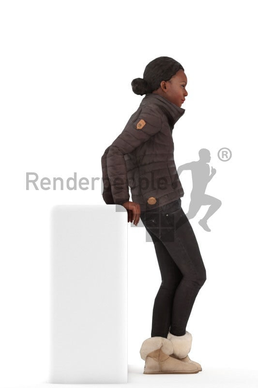 Animated 3D People model for Unreal Engine and Unity – black woman in oudoor clothing, idling