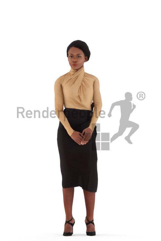 Animated 3D People model for Unreal Engine and Unity – black woman in chic event look, standing and talking