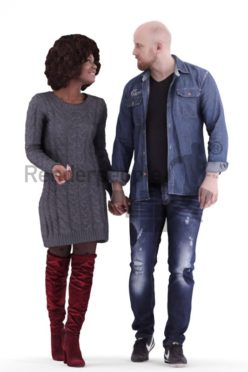 3d people couple and groups, white black 3d human walking